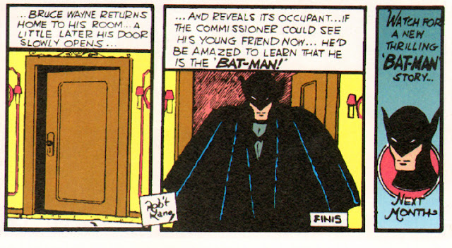 Batman steps out of a room while the narration explains that he is Bruce Wayne
