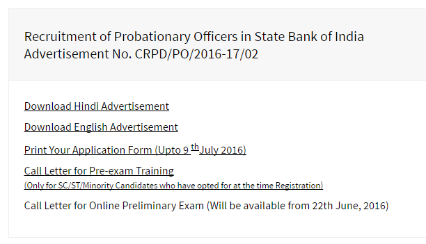 Careers With Us Sbi Corporate Website State Bank Of India Sbi Po Admit Card 2016 Sbicoin Download Call Letter For