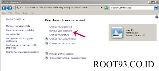 menghapus password windows 7