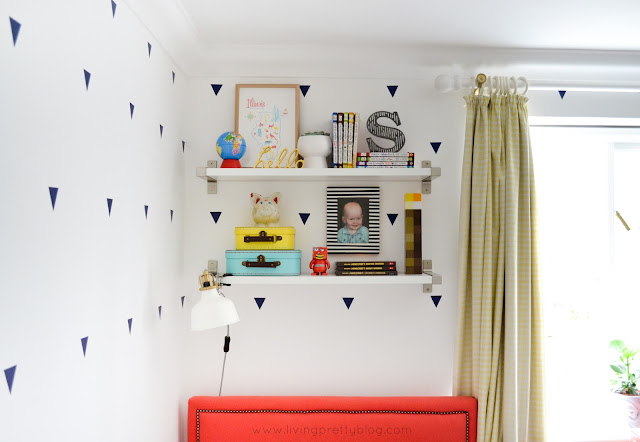 Shelf Styling - Blue Red Mint Kids Room - Shared Kids Room Reveal - One Room Challenge