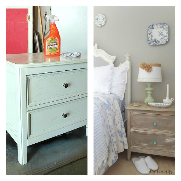 chalky painted driftwood nightstand before and after