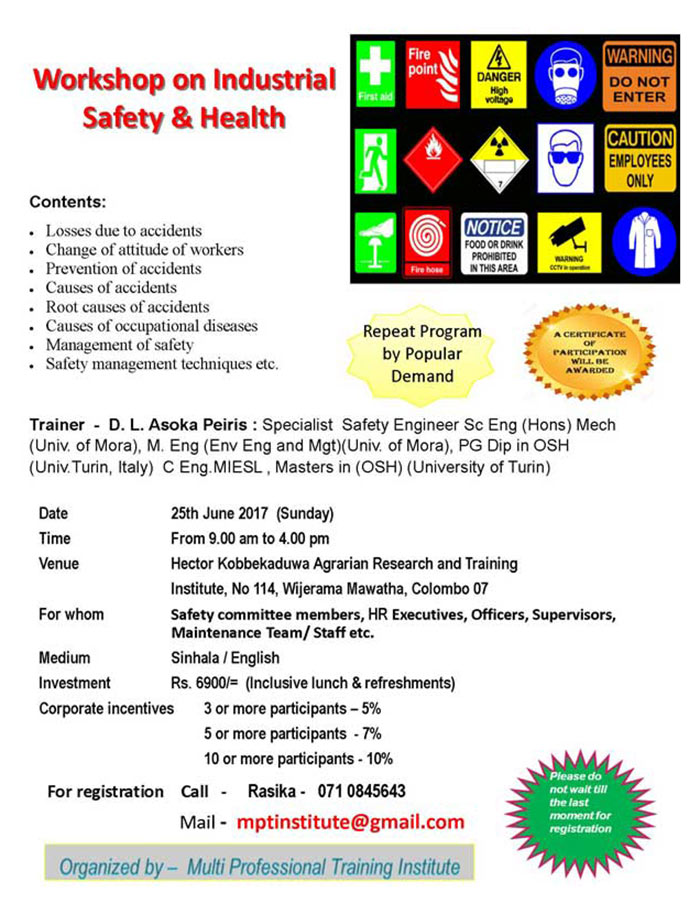 MPT Institute   Workshop on Industrial Safety and Health.