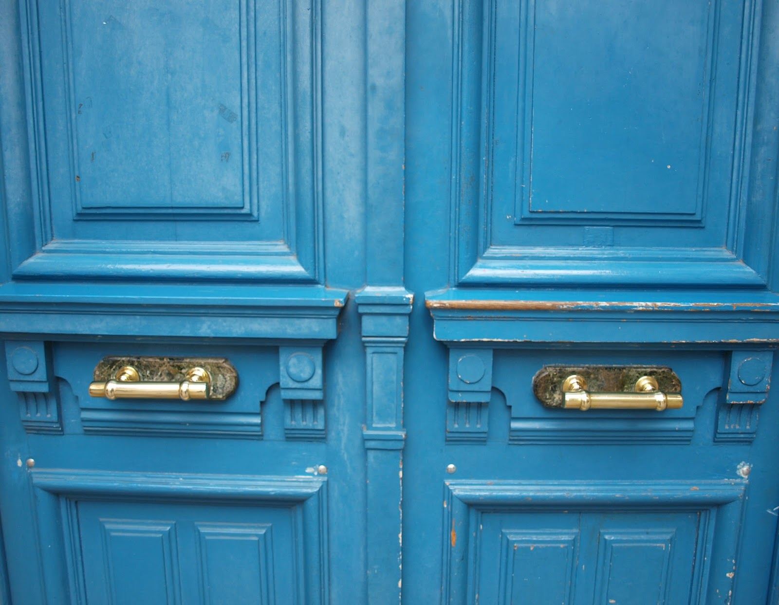 French blue vintage doors to Paris apartment - by Hello Lovely Studio