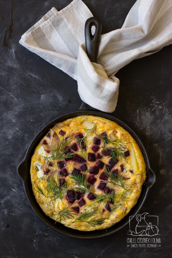 frittata, jajka, omlet, tortilla, burak, wędzony pstrąg, chrzan
