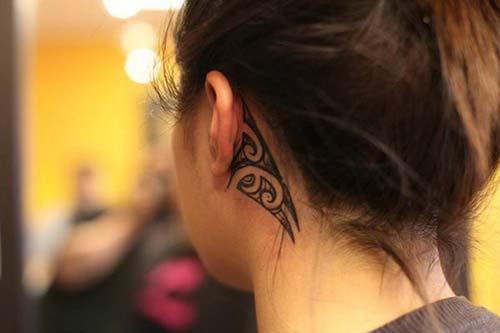 kulak arkası tribal dövme behind ear tribal tattoo