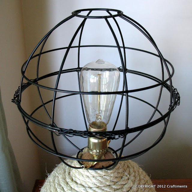Craftiments Nautical Rope Lamp With Openwork Globe Shade