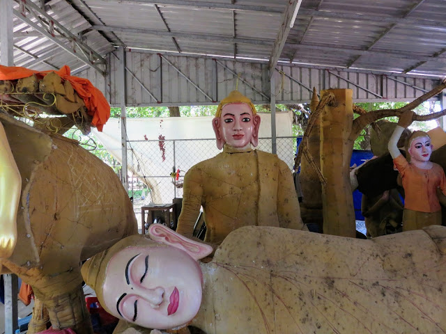 Buddha statues at Wat Damnak in Siem Reap Cambodia