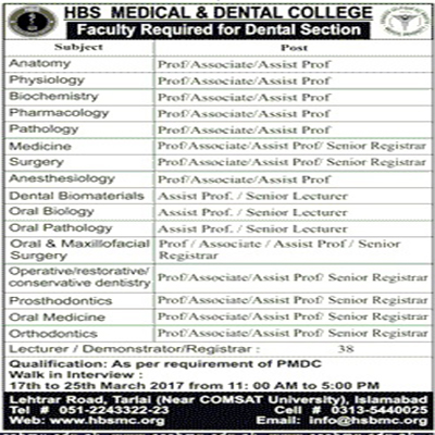 Jobs in HBS Medical and Dental College Islamabad