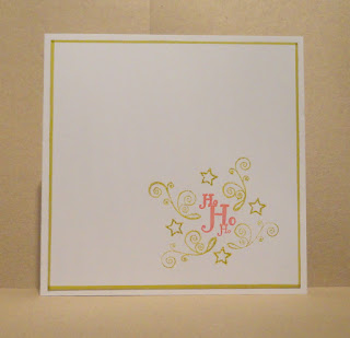 CAS Christmas card, Ho Ho Ho in red with lime green swirls