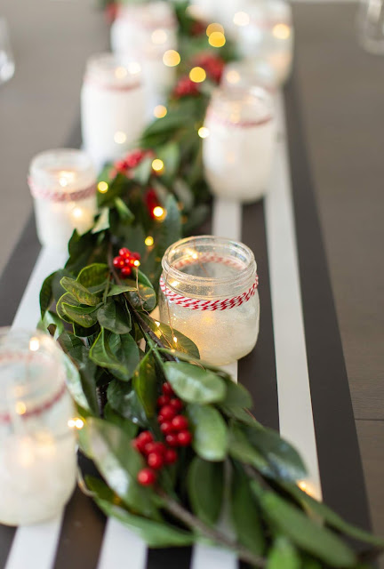 DIY Glittery White Christmas Mason Jar Centerpiece by The Celebration Stylist