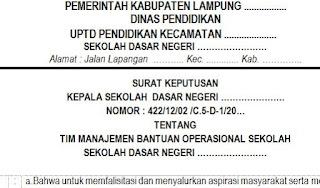 SK Manejemen Bantuan Operasional Sekolah ( BOS )