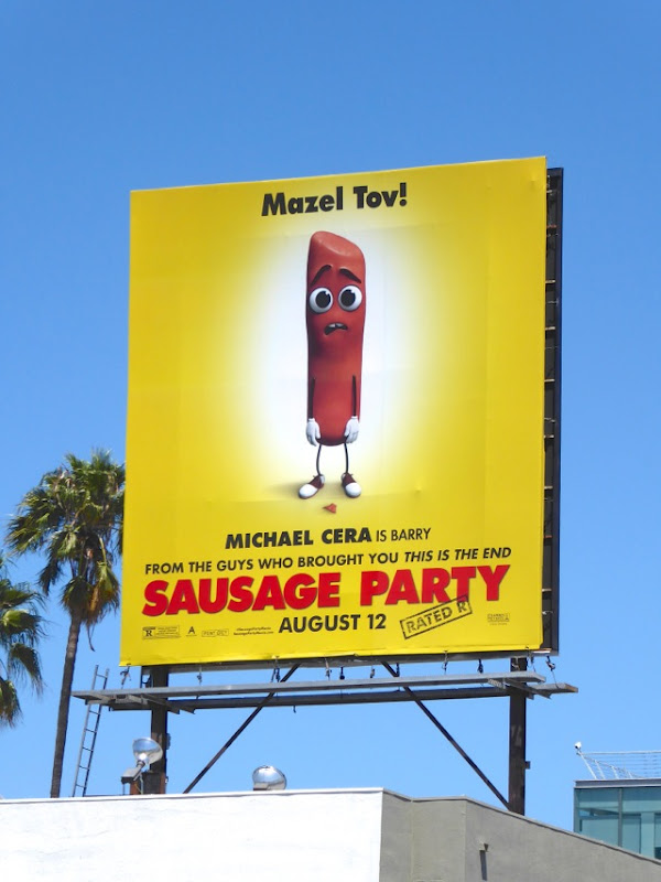 Mazel Tov Sausage Party movie billboard