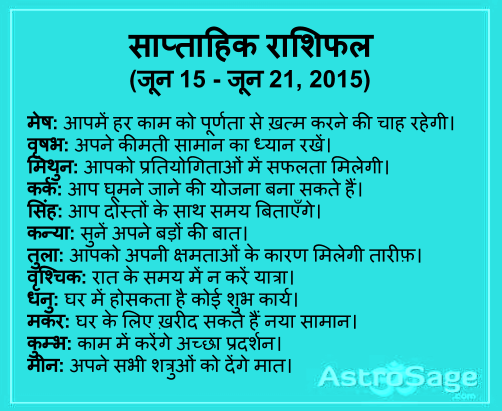 5 June se 21 June 2015 tak ane wale saptah me jaane apna bhavishya.