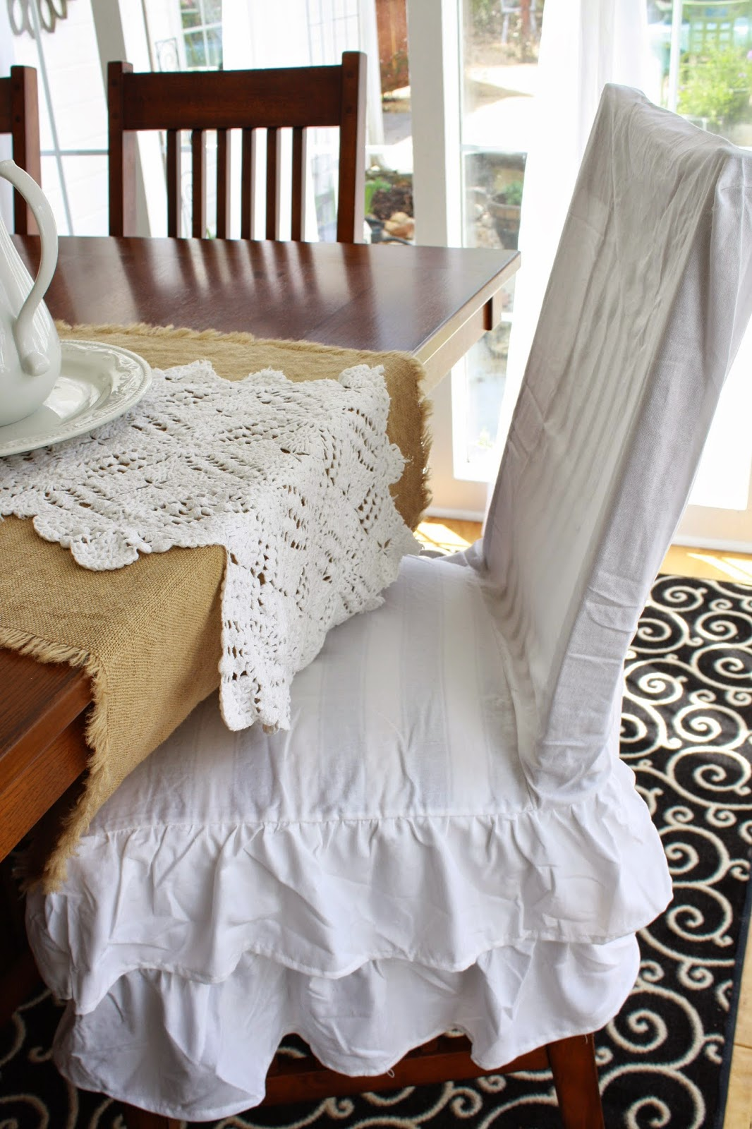 two ruffle chair slipcover