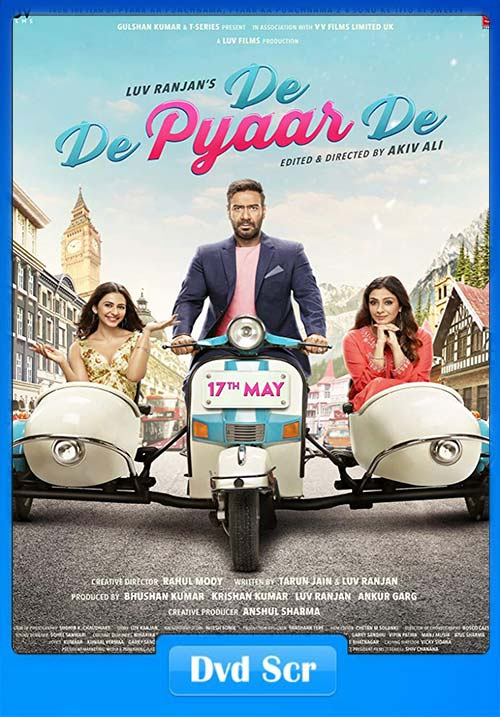 De De Pyaar De 2019 Hindi 720p DVDScr x264 | 480p 300MB | 100MB HEVC Poster