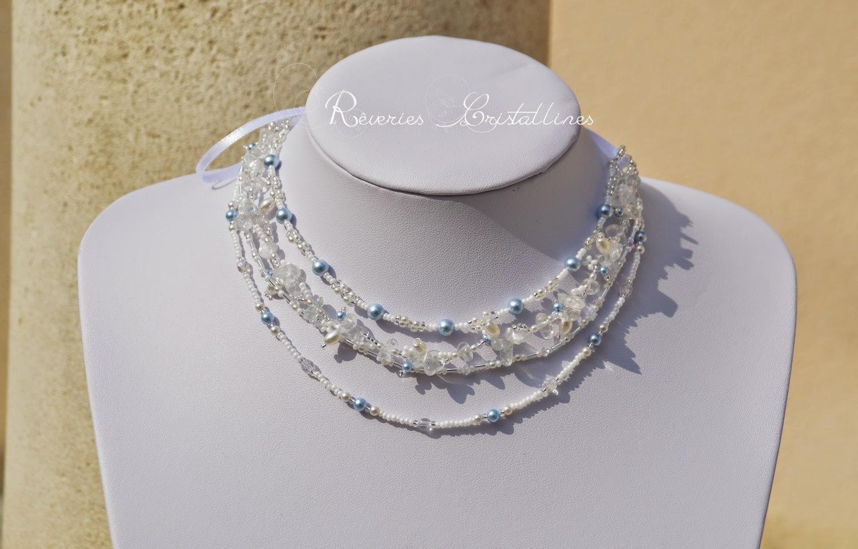 collier bijoux mariage avec ruban satin