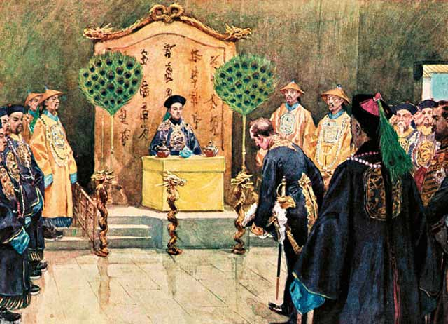 Guangxu Emperor receives a foreign envoy before the Hundred Days' Reform