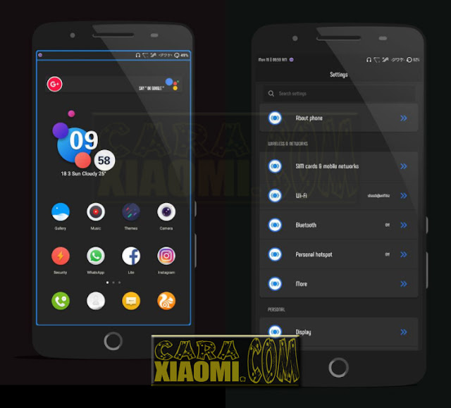 MIUI Thema Full Dark Flat Mtz v3.0.1 For Xiaomi [Merubah Mod WhatsApp Menjadi Black/Dark]
