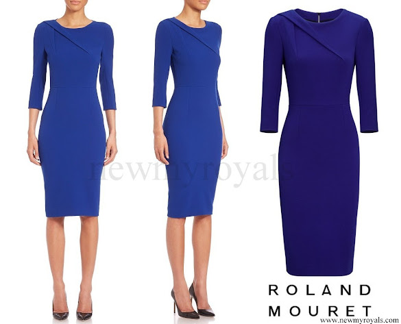 Princess Charlene wore Roland Mouret Hisley Three-quarter Sleeve Sheath Dress