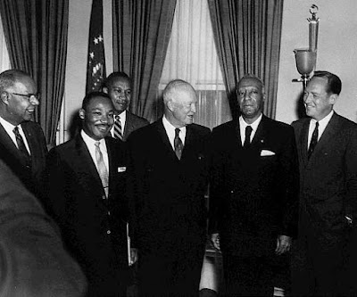 June 23, 1958, Republican President Dwight Eisenhower meets with Dr. Martin Luther King and other African-American leaders to discuss plans to advance civil rights. It was under the watch of President Eisenhower that many of the advances in civil rights began to take shape.