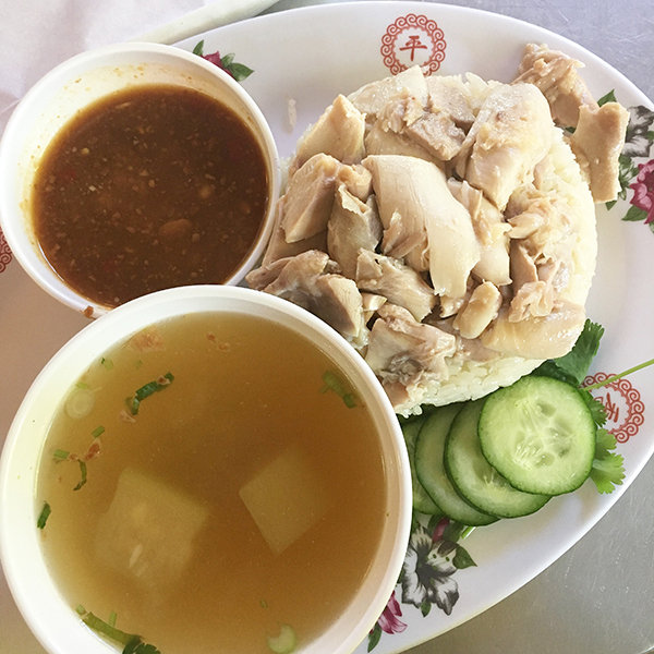 Thai-style Hainanese chicken from Nong's Khao Man Gai in Portland, Oregon