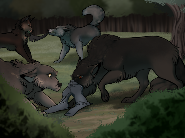 four wolves exploring a set of human clothing