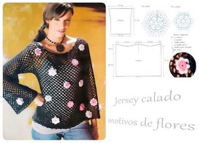 Jersey calado ganchillo motivos florales