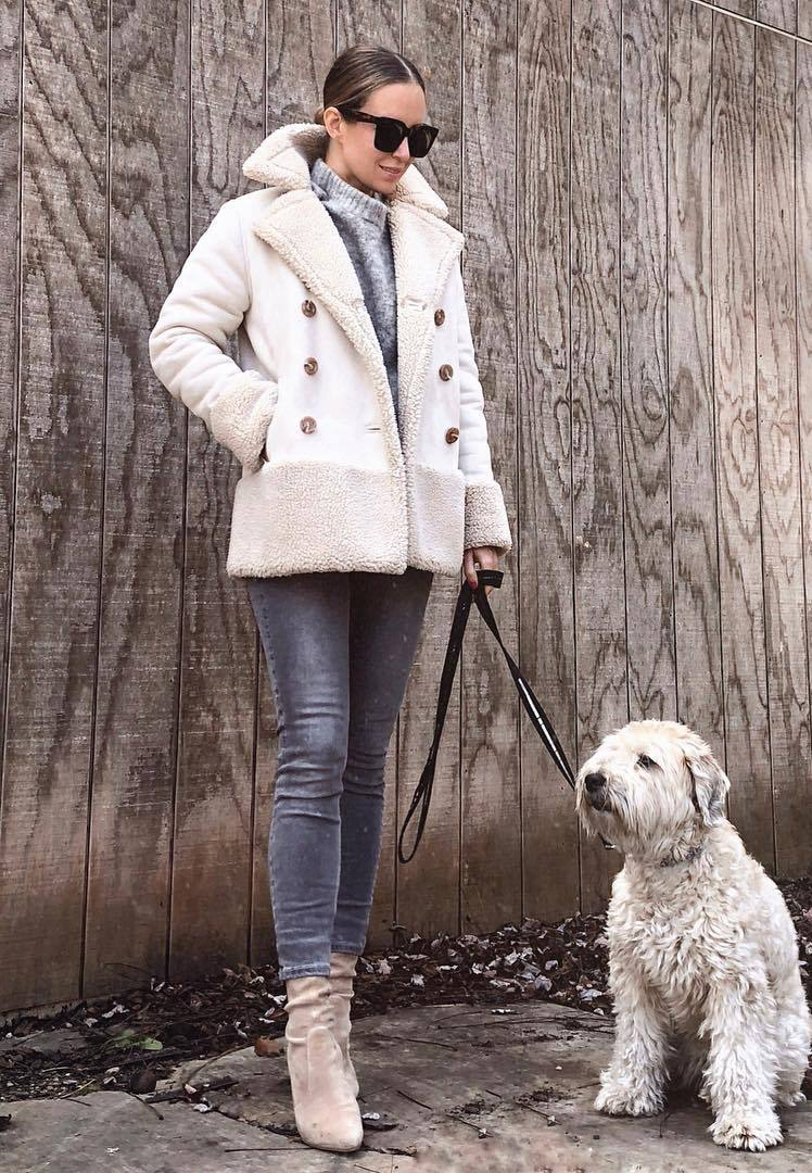 cozy winter outfit / jeans + jacket + sweater + velvet boots