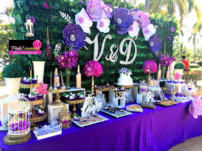 Purple and flowers themed Wedding Dessert buffet