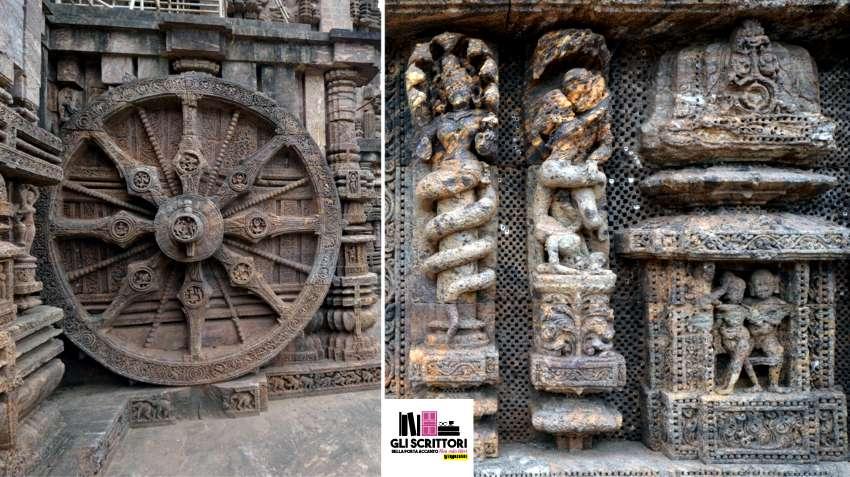 Konark, Orissa: tutto il mondo reale e mitologico hindu scolpito nella pietra.