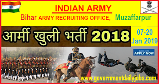 Army Muzaffarpur Open Rally 2018-19 Apply Online for Sol GD, Sol Clerk/SKT