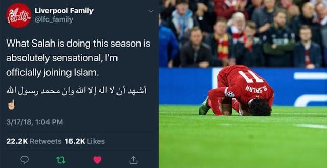 Mohamed Salah Cetak 4 Gol, Fans Liverpool Ikrarkan Syahadat