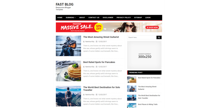 Fast Blog lazy Blogger Template, download free blogspot theme 2018