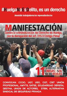 Contra la criminalización del derecho de huelga