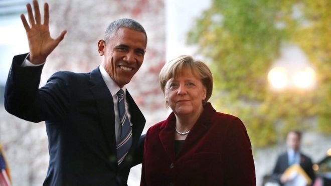 Trump election: Obama meets Merkel on farewell visit to Germany