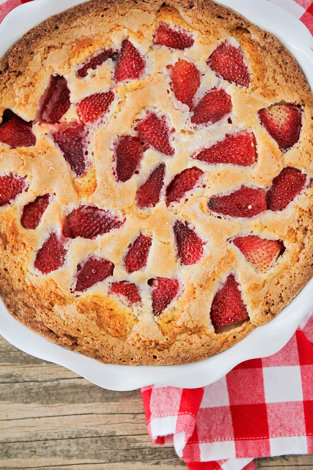 This tender and sweet strawberry summer cake is loaded with fresh strawberries, and so quick and easy to make!