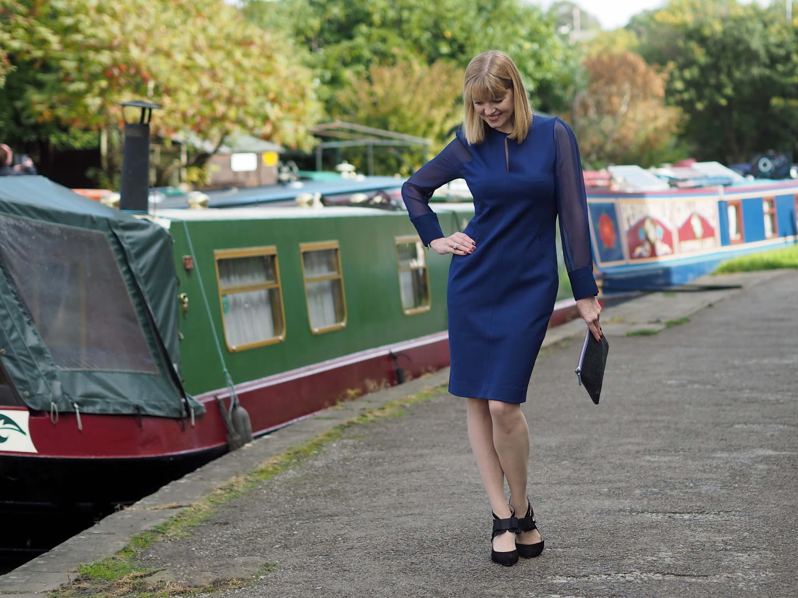 Winser London blue dress with sheer georgette silk sleeves and bow shoes