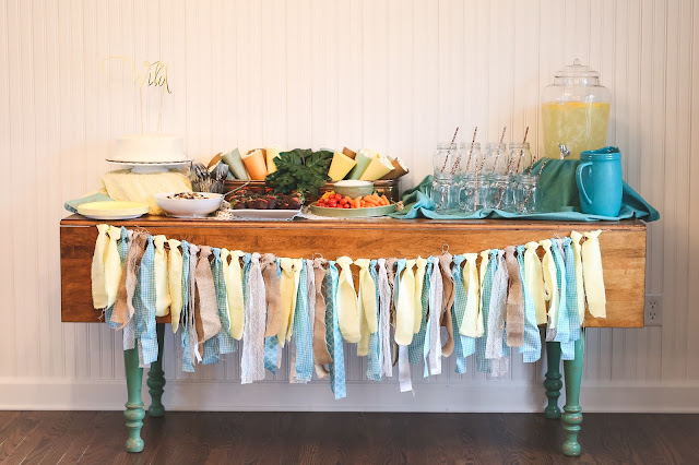 Teal, Yellow, Tan Bridal Shower.  Classy Animal Theme Bridal Shower.