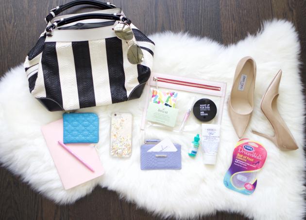 Black/White stripe Caroline De Marchi Bag, iphone, cosmetics, Jimmy Choos, notebook, etc.