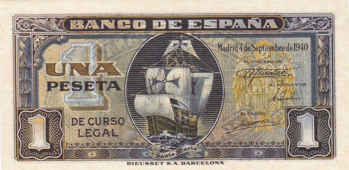 Spain Banknotes 1 Peseta banknote 1940 Columbus ship Santa Maria