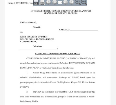 Kent Security of Palm Beach sued by pregnant woman.