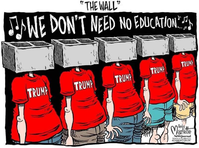 Title:  The Wall.  Image:  Row of fellows in Trump shirts with cinderblocks for heads chanting,