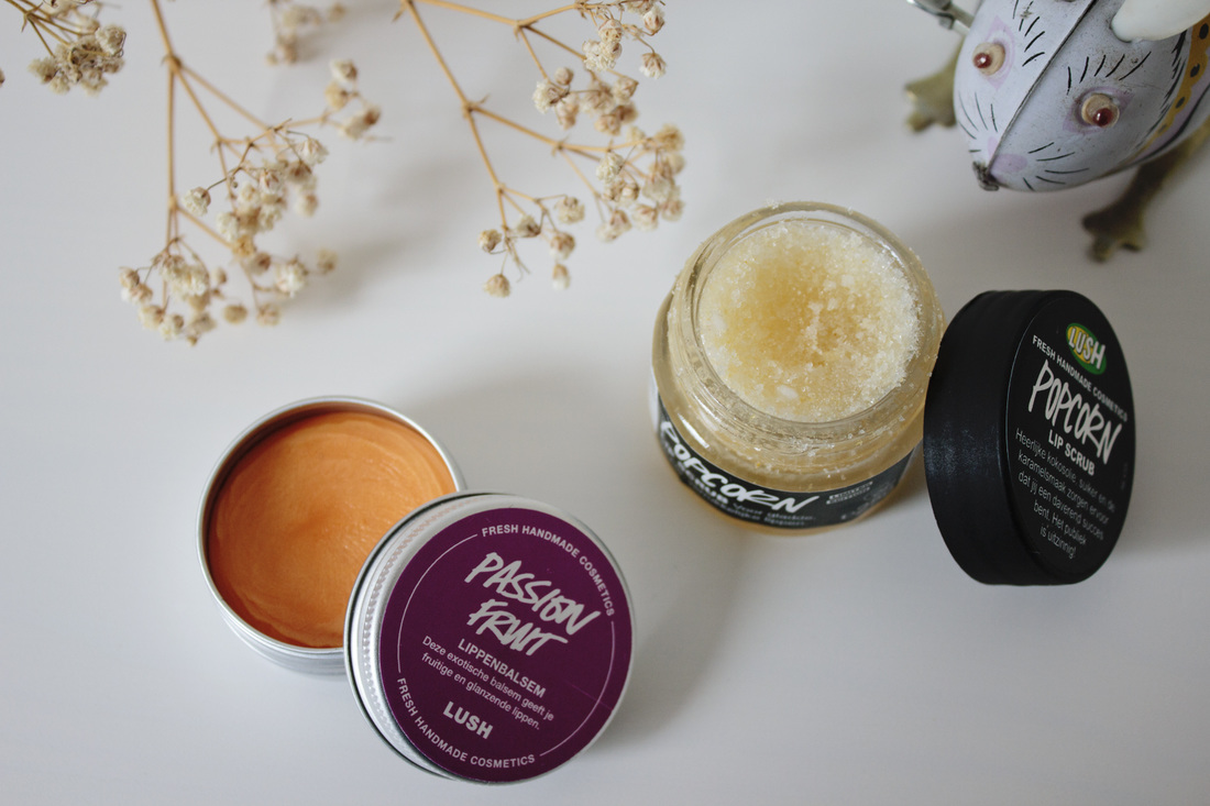 Lush passion fruit lip balm and popcprn lip scrub