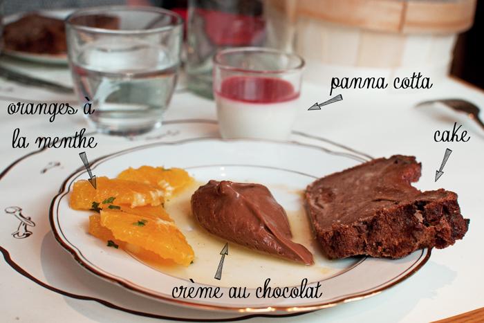 salade d'oranges à la menthe, panna cotta, pudding et crème au chocolat du Restaurant le clou de girofle à Caen