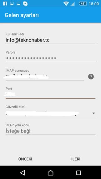 android e-posta imap gelen kutusu ayarları