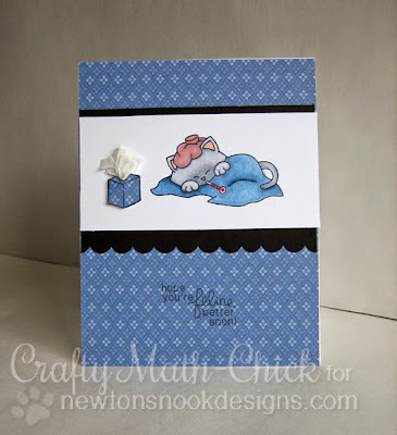 Sick Kitty with Kleenex card by Crafty Math Chick | Newton's Sick Day by Newton's Nook Designs