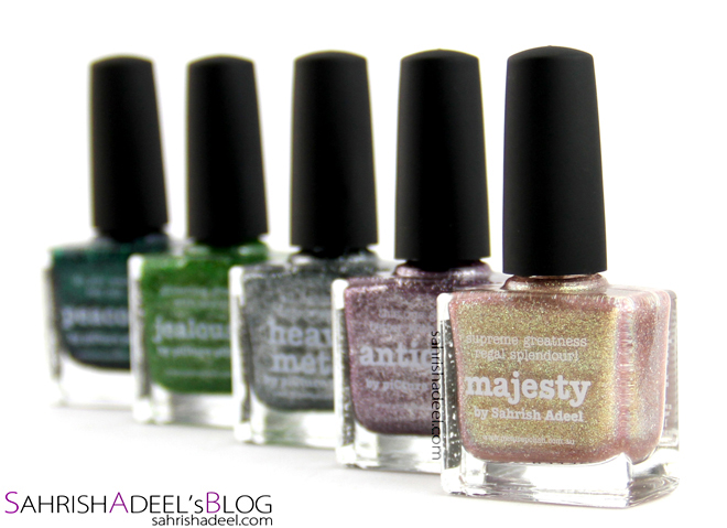 Picture Polish Nail Polishes in Peacock, Jealousy, Heavy Metal, Antique, Beige and Majesty