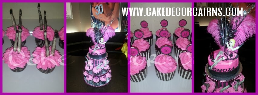 Can Can Dancers Pink and Black Cake and Cupcakes Birthday Theme