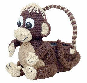 Crochet monkey Easter basket