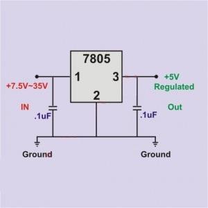 الدائرة التي يعمل عليها منظم الجهد 7805